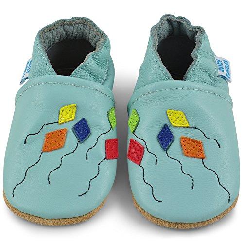 Bild von Juicy Bumbles - Weicher Leder Lauflernschuhe Krabbelschuhe Babyhausschuhe mit Wildledersohlen. Junge Mädchen Kleinkind- Gr. 6-12 Monate (Größe 20/21)- Papierdrachen
