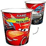 Unbekannt Papierkorb / Behälter -  Disney Cars / Lightning McQueen - Auto  - incl. Name - 8 Liter - aus Kunststoff - Spielzeugkorb / Popcornschüssel / Mülleimer Eimer..