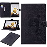 DENDICO Kindle HD10 Leather Flip Notebook Style Case Cover [Stand Function] [Magnetic Closure] [Card Slots] Slim WeightLight Protective Case for Amazon Kindle HD10 - Black