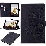Conber Fire HD 10 Hülle, Ultra Dünn Leder Intelligent Handyhülle, Tablet PC Schutztasche Klappetui Schutzhülle für Amazon Kindle Fire HD 10 Tablet (10 Zoll, 7. Generation 2017) - Schwarz