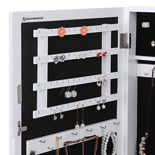 Songmics Hängend Schmuckschrank Wandspiegel zum Hängen mit Tür und Magnetverschluss weiß JBC51W - 4