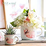 Note. Miz 1 Piece Pottery Flower Pot Shabby Style Plant Pot Animal Print Cup Home Garden Accessories Desktop Flower Pot