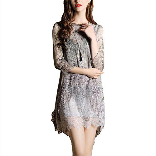Robe élégante robe de dentelle irrégulière robe imprimée gland - coloré Multicolore