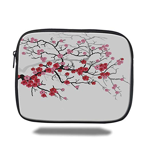 Laptop Sleeve Case,Nature,Japanese Plant Sakura Flower with Abstract Backdrop Art,Dark Brown Dark Coral and Light Pink,Tablet Bag for Ipad air 2/3/4/mini 9.7 inch (Dark 0 Perfect)