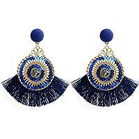 zolimx Estilo Abierto Gran Círculo de Cristal Borla Dangle Pendientes Espárragos Joyería de Moda (Azul)