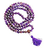 #6: ESHOPPEE 8MM AMETHYST HEALING CRYSTAL STONE MALA NECKLACE FOR BALANCING OF PHYSICAL AND MENTAL ENERGY,108+ BEADS ROSARY MALA