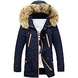 Newbestyle Winter Baumwolle Herren Wintermantel mit Pelzkragen Kapuzenjacke Outdoorjacke Winterjacke Warm Mantel (Large, Dunkelblau)