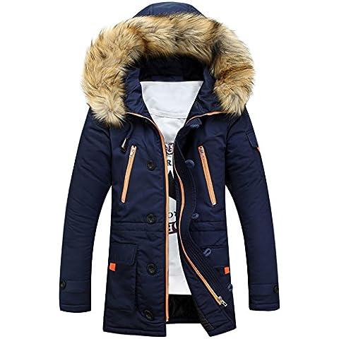 c1e01d2b5d25 Newbestyle Winter Baumwolle Herren Wintermantel mit Pelzkragen Kapuzenjacke  Outdoorjacke Winterjacke Warm Mantel (Large, Dunkelblau