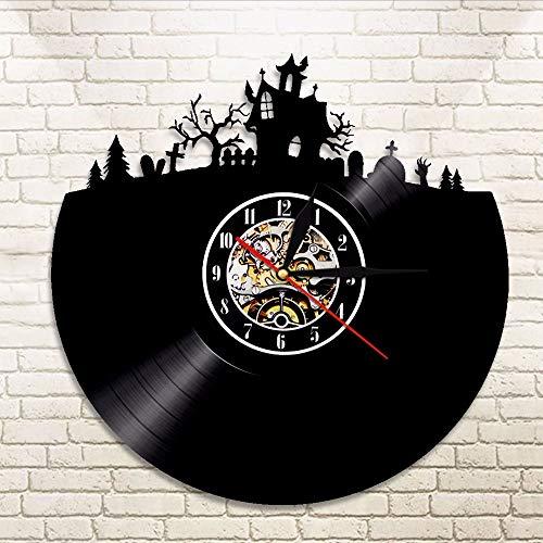 JIANGRC Vinyl Record Wall Clock 1 Pieza Decoraciones De Halloween De Disco De Vinilo, Reloj De Cocina De Vinilo Reloj Feliz Halloween Decoración, Nusret Reloj De Arte De La Pared