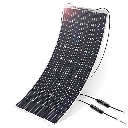 ALLPOWERS 18V 12V 160W Solarzelle Solarmodul Solarpanel, Monokristallin Flexibel Solarpanel Outdoor Wasserdichte Solarladegerät Charger mit MC4 Ladekabel für Wohnmobil, Auto, Boot 12V Batterien