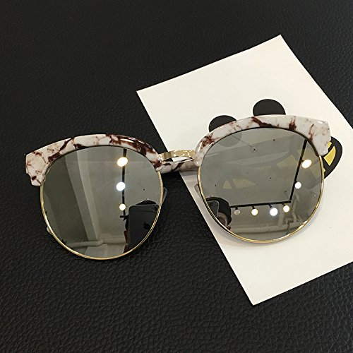 LXKMTYJ Sepia Big Box Female Tide Of Sunglasses Round Face Personality Men And Women Of White Marble Sunglasses