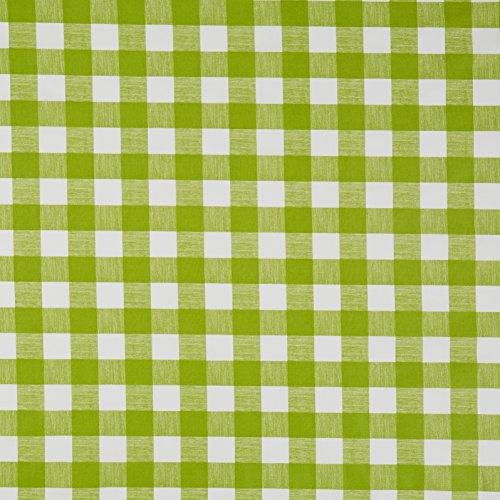 vinylla Gingham-Karo Lime Grün Vinyl Beschichtete Baumwolle Einfach abwischbares Wachstuch Tischdecke, grün, 140 x 180 cm (Grüne Tischdecke Vinyl)