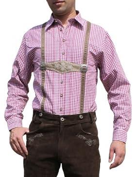 Trachtenhemd für Trachten Lederhosen mit Hosenträger-Imitat rot/kariert