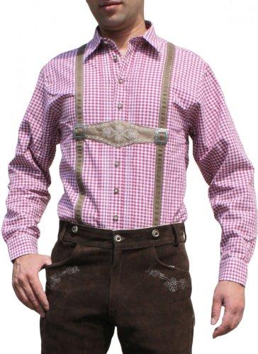 Trachtenhemd für Trachten Lederhosen mit Hosenträger-Imitat rot/kariert, Hemdgröße:3XL