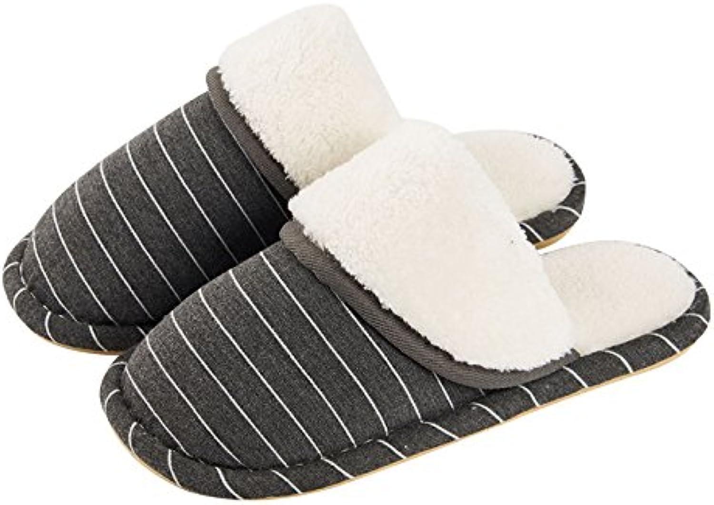 YMFIE Los hombres interiores de invierno cálido hogar anti-deslizamiento suave de algodón impermeable soles zapatillas  -