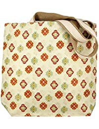Off-white Cotton Kilim Shopping Tote Bag With Print With Double Shoulder Strap