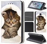 CoverHeld Hülle für Samsung Galaxy S4 Mini Premium Flipcover Schutzhülle aus Kunstleder Flip Case Motiv (1003 Katze Katzen Baby Braun Blau Weiß)