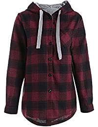Hannea Plaid Button up Pocket Plus Size Hoodie