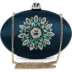 BAIGIO Bolso de Noche Verde, Clutch Mujer Fiesta Vintage Cartera de Mano Bolsos de Embrague Cadena para Boda Novia Ceremonia, Satén y Diamante