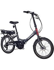 Telefunken E-Bike Klapprad, Elektrofahrrad Alu in grau, 7 Gang Shimano Kettenschaltung - Pedelec Faltrad leicht, 250W und 9 Ah/36V Lithium-Ionen-Akku, Reifengröße: 20 Zoll