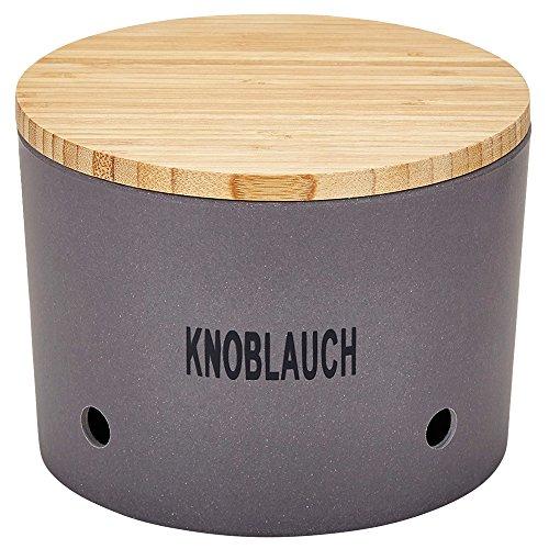 Magu Knoblauchtopf Natur-Design in Schiefer, Bambusfasern, Getreidestärke, Holzfaser, 28 x 28 x 8 cm