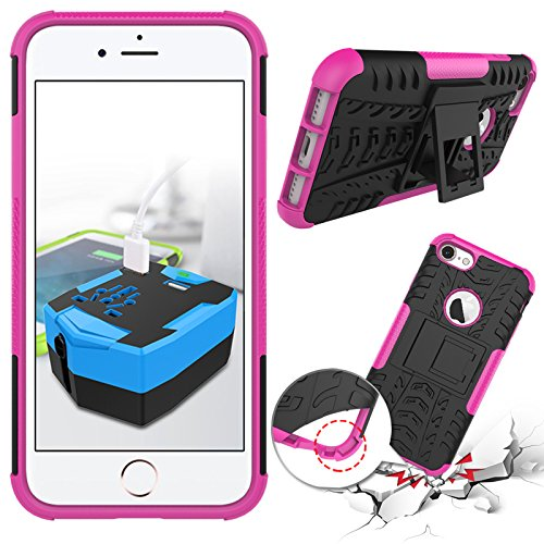 iPhone 7étui portefeuille en cuir pour livre, newstars léger à rabat strass Bling Diamant Strass PU Case Design Coque Protège la peau étui en cuir pour Téléphone Portable iPhone 77g + 1protection  rose rouge
