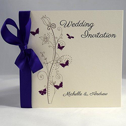 invitations by shell windsor butterfly sidefold wedding invitations luxury edition purple satin packs of 10 - Purple Wedding Invitations