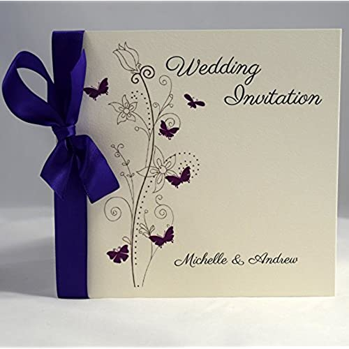 Invitations By Shell Windsor   Butterfly Sidefold Wedding Invitations  Luxury Edition   Purple Satin (Packs Of 10)