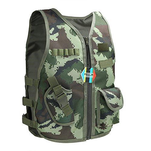 Kostüme Swat Jungen (Pellor Kinder Outdoor Tactical Nylon Weste Security Guard Weste CS Field Training Schutzweste Kids Kostüme Geschenk (Camo, S für unter 1.2M/3.9ft)