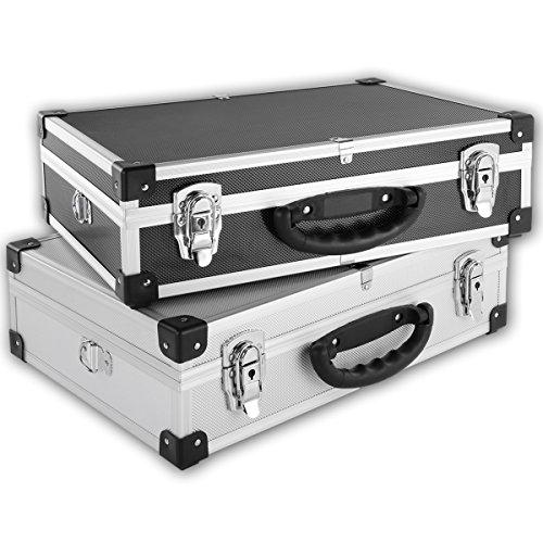 Torrex Werkzeugkoffer Alu Kiste 13 Liter 42,5 x 33 x 13,5 cm - abschließbar - Transportbox Lagerbox Werkzeugkasten (Schwarz)