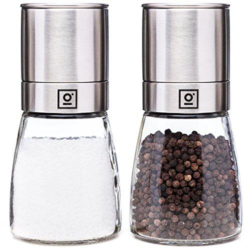 Salz und Pfeffermühle mit Keramikmahlwerk I große Pfeffer und Salzmühle aus Glas & Edelstahl I Gewürzmühle im 2er Set