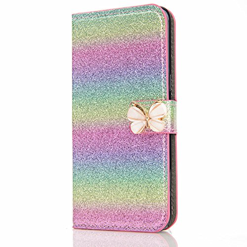 iPhone 5S Leather Case,iPhone SE Flip Wallet Case,iPhone 5S Cover,Cool Cute 3D Butterfly Bling Glitter Pattern Leather Stand Function Flip Kickstand Magnetic Book Wallet with Card Slot Holder Protective Cover Case for iPhone SE/5S/5