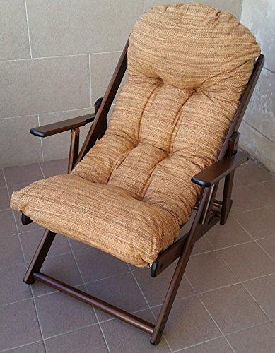 Poltrona sedia sdraio relax in legno pieghevole harmony cuscino super imbottito h 100 cm soggiorno cucina salone divano