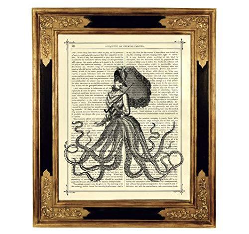 Oktopus Dame Gothic Parasol Kunstdruck auf viktorianischer Buchseite Geschenk Kleid Bild Poster...