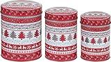 Gebäckdose Plätzchendose Blechdosen Weihnachten 3-teilig rot/grau rund matt