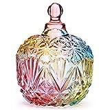 Danmu Art 1pièce colorée en verre de stockage avec couvercle Candy Pot à biscuits Boîte conteneurs, 750 ml