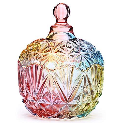 Danmu art 1 pezzo colorato vaso di stoccaggio in vetro con coperto barattolo biscottiera caramella , 750ml