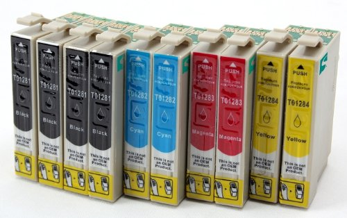 Preisvergleich Produktbild 10 Tintenpatronen mit CHIP, kompatibel zu Epson T1281/82/83/84 (4x schwarz & je 2x C/M/Y) für Epson Stylus Office BX 305F / BX 305FW / Stylus S 22 / Stylus SX 125 / Stylus SX 420W / Stylus SX 435W / Stylus SX 425W