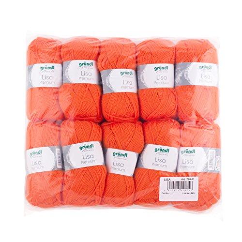 Gründl 760-11 Lauflänge Pro Knäuel, Lisa Uni, 50 g, 10-er Pack, 133 m, orange