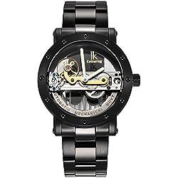 Alienwork IK mechanische Automatik Armbanduhr Skelett Automatikuhr Uhr Wasserdicht 5ATM silber schwarz Edelstahl 98393G-A
