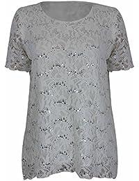Purple Hanger - Damen Blumen Netz Pailletten Rundhals Kurzarm T-Shirt Top