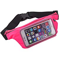 King of Flash Sweatproof [Hot Pink] Sports Running, Jogging, Marathon Fanny Pack Bum Waist Bag Phone Carrier Belt with Transparent Touch Screen Window for Mobile Smartphones Upto 5.5""