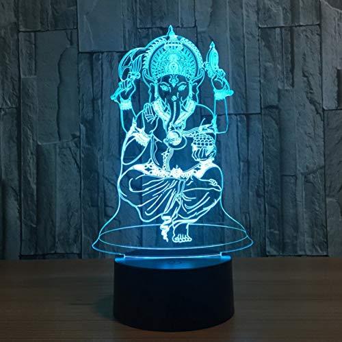 Veilleuse,Contrôle À Distance Bouddhiste Idol 7 Couleur Lampe 3D Visual Led Veilleuses Pour Les Enfants Touch Usb Table Lampara Lampe Bébé Veilleuse