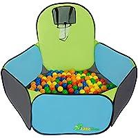 Piscina per palline colorate con canestro Pumba | tenda gioco per bambini + pratica custodia per riporla / trasportarla | faciele da montare leggera da trasportare | per giocare dentro e fuori casa (palline non incluse, vendute separatamente)