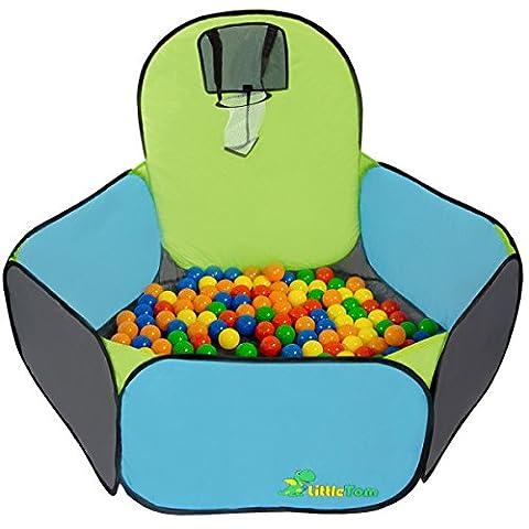 Piscine Tente Pumba + panier de basket-ball + étui pour le garder transporter | jeu jouet pour enfants maisonnette de jardin mini terrain de basket | idéal pour l'intérieur et l'extérieur da la maison | les balles colorées sont vendu séparément