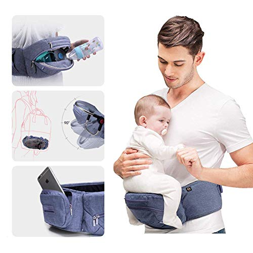 0ff899fbebba Bebamour Foldable Baby Carrier Hip Seat Safety Certified Baby Carrier Large  Storage Pockets Ergonomic Toddler Waist