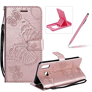 Strap Leather Case for Galaxy A6s,Wallet Leather Case for Galaxy A6s,Herzzer Premium Stylish Pretty 3D Rose Gold Butterfly Printed Magnetic Soft Rubber Stand Case with Card Slots