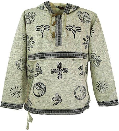 Guru-Shop Goa Kapuzenshirt, Baja Hoody, Herren, Grau, Baumwolle, Size:L, Sweatshirts & Hoodies Alternative Bekleidung - Baja Pullover Hoodies