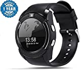 #5: Adlyn Smart Watch for All Android/iOS Mobile Phone 4G, 3G, 2G Bluetooth Smartwatch V8 Wristwatch with Camera & SIM Card Support (Black)