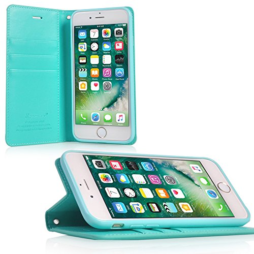 UKDANDANWEI Apple iPhone 8 Coque, Supporter Flip PU Cuir Pochette Portefeuille Housse Coque attache Etui pour Apple iPhone 8 - Turquoise Turquoise